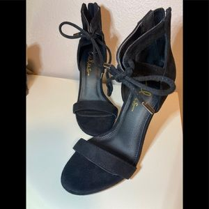 Lulus Black strappy faux suede high heel Sandals